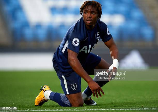 Kazaiah Sterling of Tottenham Hotspur reacts on the pitch during the UEFA Youth Champions League group H match between Real Madrid and Tottenham...