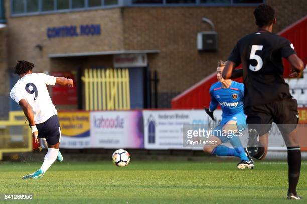 Kazaiah Sterling of Tottenham Hotspur scores during the Premier League International Cup match between Tottenham Hotspur v West Ham United at The...