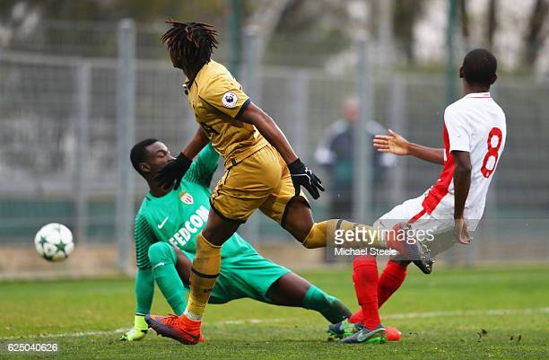 Kazaiah Sterling of Tottenham Hotspur scores their first goal past goalkeeper Emmanuel Mifsud during the UEFA Youth Champions League match between AS...