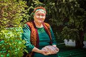 Kazakh Adult Women Smiling Happy Concept