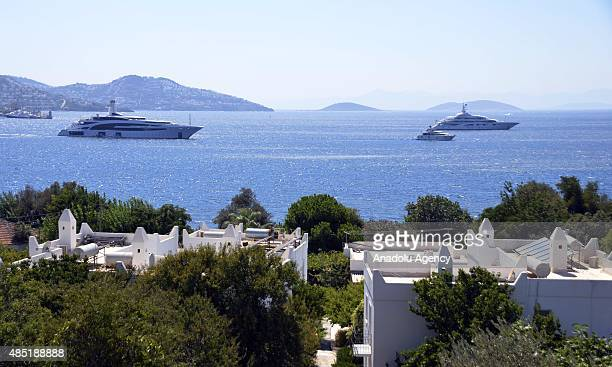 Kazakh billionaire Alican Ibrahimov's yacht 'Dynasty' which has 14 rooms and one of the luxurious yachts in the world is seen on the Aegean sea near...