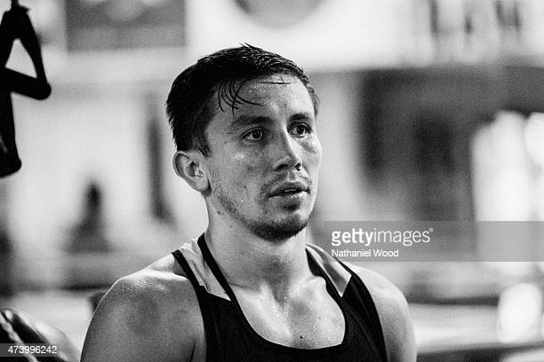 BIG BEAR CA NOVEMBER 01 2014 Kazakh boxer Gennady Golovkin is photographed for Men's Fitness on November 1 2014 in Big Bear California
