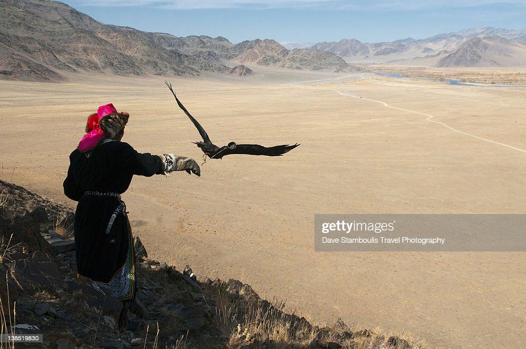 Kazakh eagle hunter letting golden eagle fly : Stock Photo