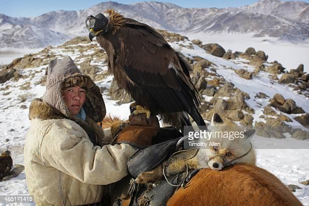 Kazakh golden eagle hunter & captured fox
