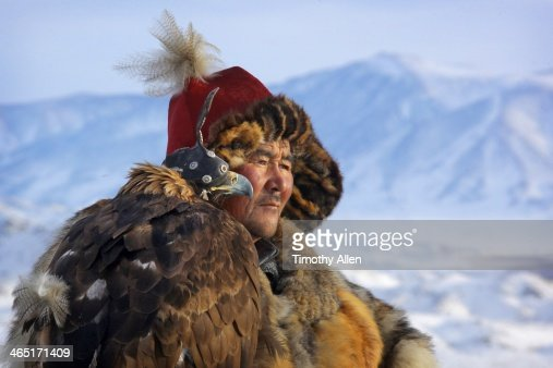 Kazakh Golden eagle hunter & eagle