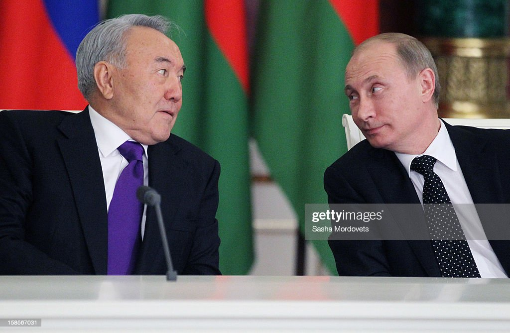 Kazakh President <a gi-track='captionPersonalityLinkClicked' href=/galleries/search?phrase=Nursultan+Nazarbayev&family=editorial&specificpeople=4556028 ng-click='$event.stopPropagation()'>Nursultan Nazarbayev</a> (L) and Russian President <a gi-track='captionPersonalityLinkClicked' href=/galleries/search?phrase=Vladimir+Putin&family=editorial&specificpeople=154896 ng-click='$event.stopPropagation()'>Vladimir Putin</a> exchange a glance as they attend the Summit of Collective Security Treaty Organisation (CSTO) on December 19, 2012 in Moscow, Russia. Leaders of Russia, Belarus, Kazakhstan, Kyrgyzstan and Armenia have gathered at the Kremlin in Moscow for the summit.