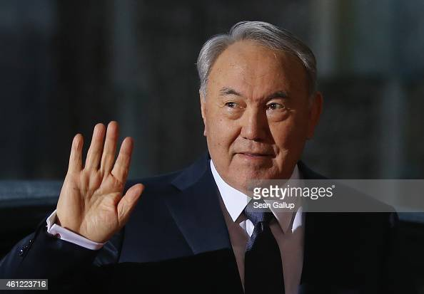 Kazakh President Nursultan Nazarbayev arrives for talks with German Chancellor Angela Merkel at the Chancellery on January 9 2015 in Berlin Germany...
