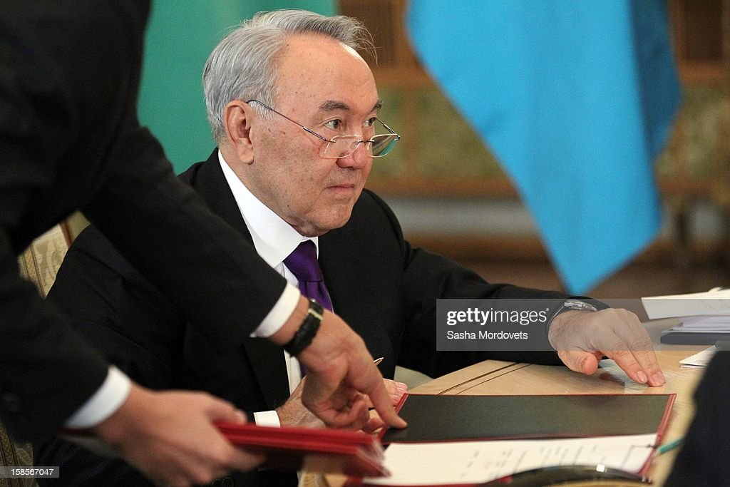 Kazakh President <a gi-track='captionPersonalityLinkClicked' href=/galleries/search?phrase=Nursultan+Nazarbayev&family=editorial&specificpeople=4556028 ng-click='$event.stopPropagation()'>Nursultan Nazarbayev</a> attends the Summit of Collective Security Treaty Organisation (CSTO) on December 19, 2012 in Moscow, Russia. Leaders of Russia, Belarus, Kazakhstan, Kyrgyzstan and Armenia have gathered at the Kremlin in Moscow for the summit.