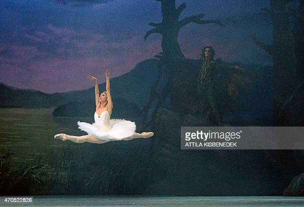 Kazakh prima ballerina Tanykpayeva Aliya performs on stage of the Hungarian State Opera in Budapest on April 21 2015 during their reharsal of the '...