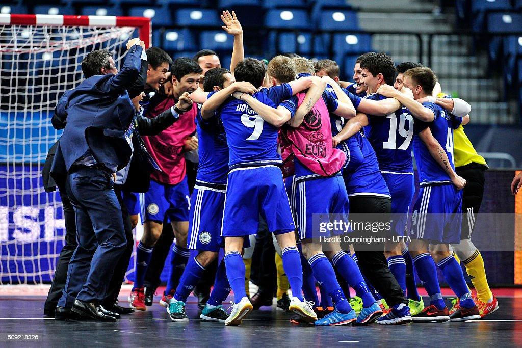 Kazakhstan celebrate their victory during the UEFA Futsal EURO 2016 quarter final match between Kazakhstan and Italy at Arena Belgrade on February 9, 2016 in Belgrade, Serbia.