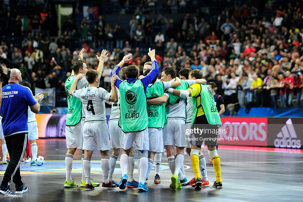 Kazakhstan celebrate their victory during the UEFA Futsal EURO 2016 third place play off match between Serbia and Kazakhstan at Arena Belgrade on February 13, 2016 in Belgrade, Serbia.