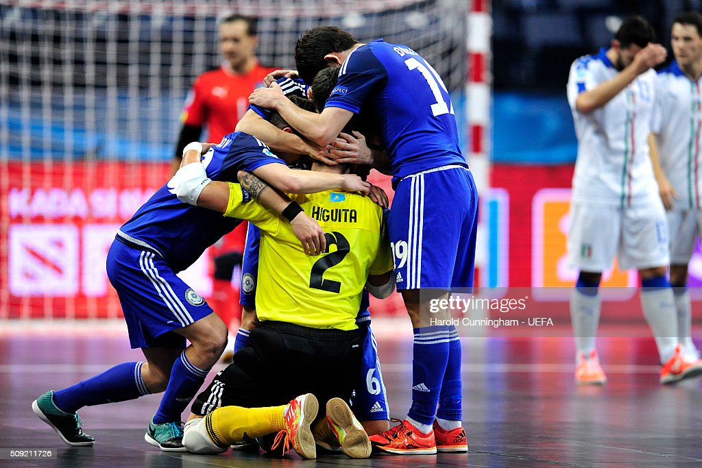 Kazakhstan celebrates scoring his team first goal during the UEFA Futsal EURO 2016 quarter final match between Kazakhstan and Italy at Arena Belgrade on February 9, 2016 in Belgrade, Serbia.