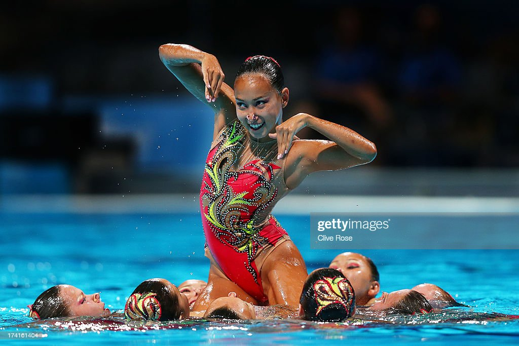 Kazakhstan compete in the Synchronized Swimming Free Combination preliminary round on day two of the 15th FINA World Championships at Palau Sant...