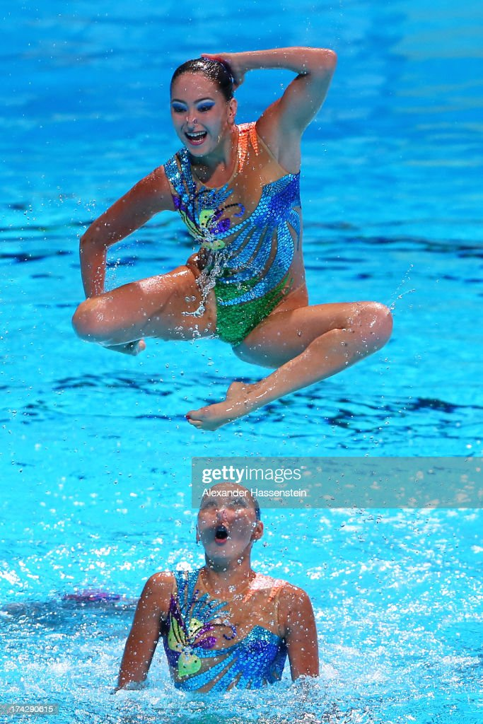 Kazakhstan compete in the Synchronized Swimming Team preliminary round on day four of the 15th FINA World Championships at Palau Sant Jordi on July 23, 2013 in Barcelona, Spain.