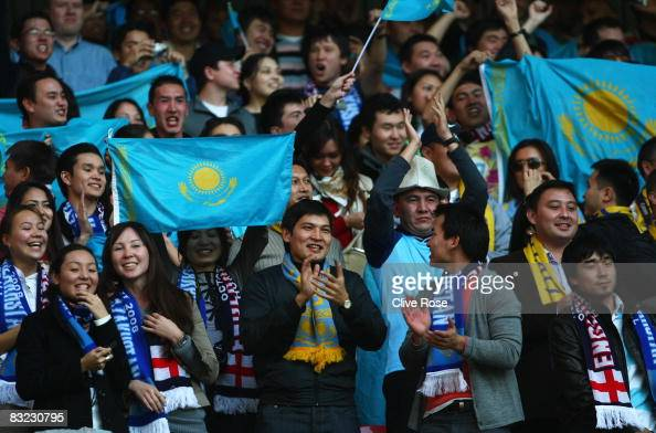 Kazakhstan fans welcome their team prior to the 2010 World Cup qualifying match between England and Kazakhstan at Wembley Stadium on October 11 2008...