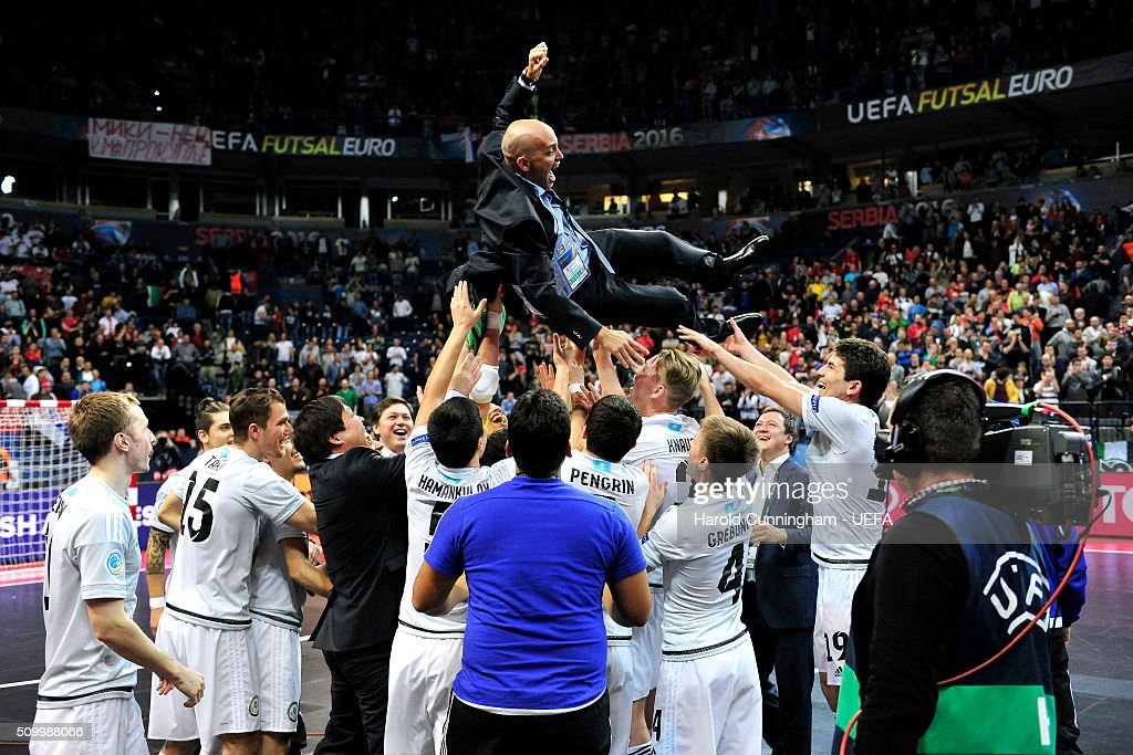 Kazakhstan futsal national team coach <a gi-track='captionPersonalityLinkClicked' href=/galleries/search?phrase=Cacau&family=editorial&specificpeople=178248 ng-click='$event.stopPropagation()'>Cacau</a> celebrates with his team their victory during the UEFA Futsal EURO 2016 third place play off match between Serbia and Kazakhstan at Arena Belgrade on February 13, 2016 in Belgrade, Serbia.