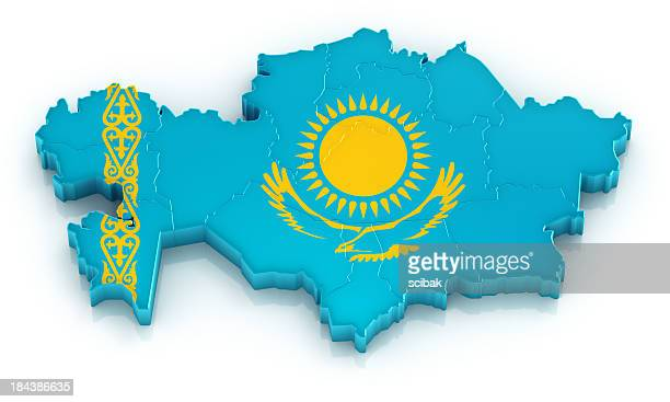 Kazakhstan map with flag