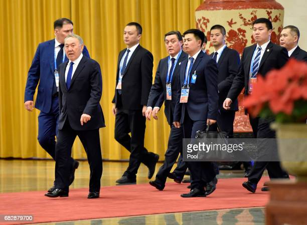 Kazakhstan President Nursultan Nazarbayev arrives at the Great Hall of People for the meeting with Chinese President Xi Jinping on the sidelines of...