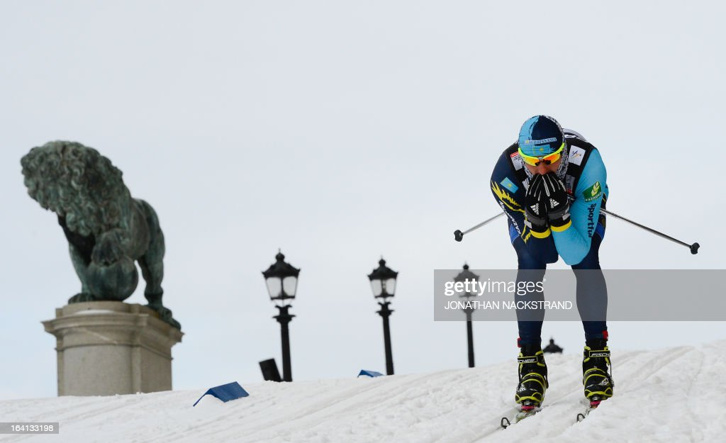 Kazakhstan's Alexey Poltoranin competes during the Men's 1.1 kilometer cross country World Cup Royal Palace Sprint on March 20, 2013 in Stockholm.