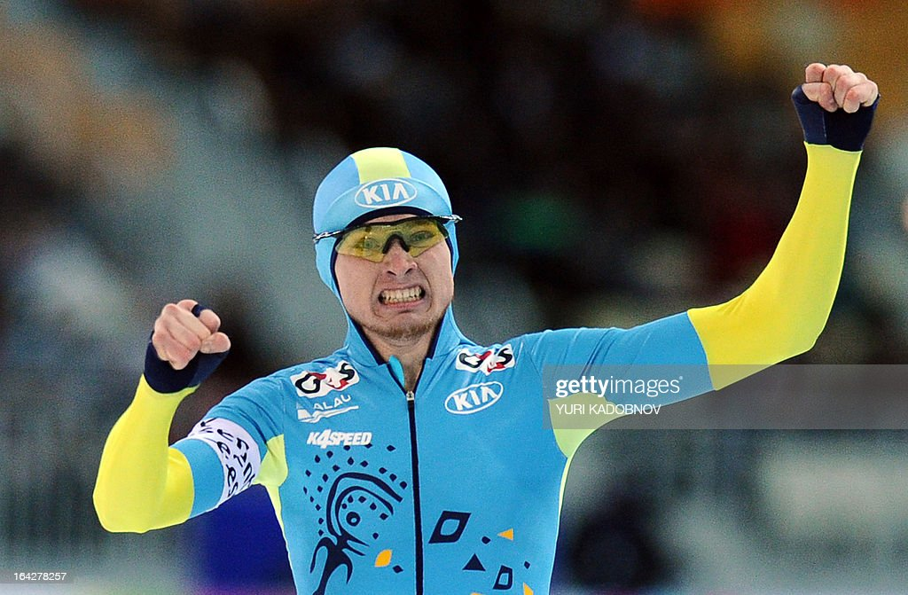 Kazakhstan's Denis Kuzin reacts as he competes in the 1000m men's event during the 2013 World Single Distances Speed Skating Championships in Sochi on March 22, 2013. Kuzin won the gold medal.