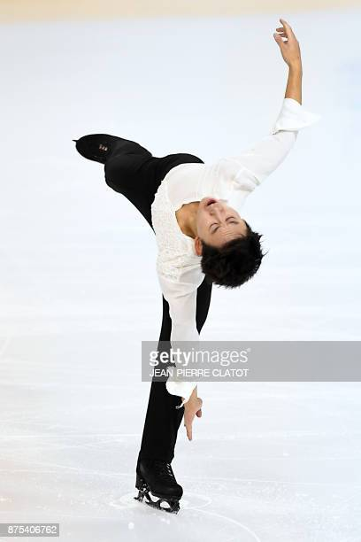 Kazakhstan's Denis Ten performs during the men's short program during event of the Internationaux de France ISU Grand Prix of Figure Skating in...