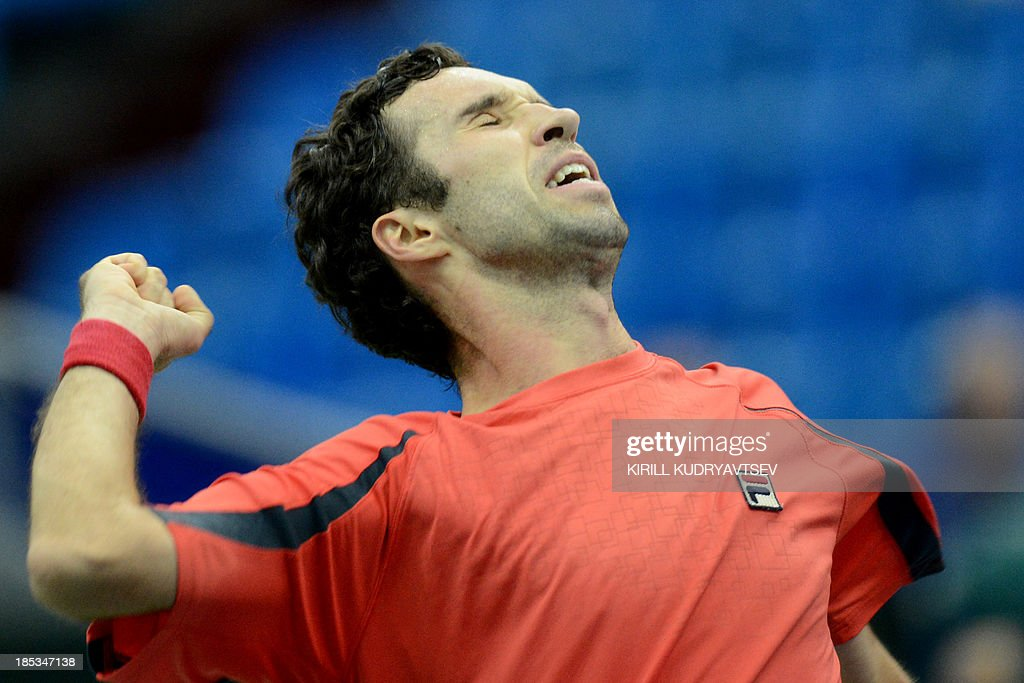 Kazakhstan's Mikhail Kukushkin celebrates his victory over Italy's Andreas Seppi after the Kremlin Cup tennis tournament semifinal match in Moscow on October 19, 2013.