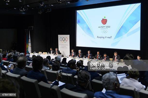 Kazakhstan's Prime minister Karim Massimov and delegates present Almaty 2022 Candidate City's bid for the the 2022 Winter Olympics on June 9 2015...