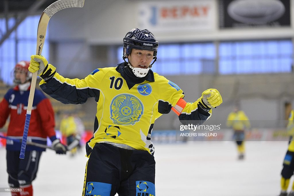 Kazakhstan's Rauan Issaliev reacts after scoring the 3-0 goal during the Bandy World Championship match between Kazakhstan and Norway in Vanersborg, Sweden, on January 29, 2013.