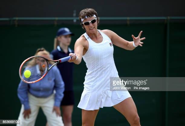 Kazakhstan's Yaroslava Shvedova in action against Germany's Sabine Lisicki during day nine of the Wimbledon Championships at the All England Lawn...