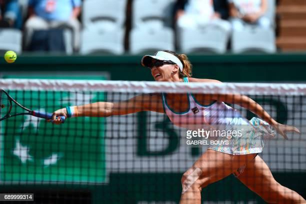 Kazakhstan's Yaroslava Shvedova returns the ball to Ukraine's Elina Svitolina during their tennis match at the Roland Garros 2017 French Open on May...