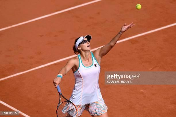 Kazakhstan's Yaroslava Shvedova serves to Ukraine's Elina Svitolina during their tennis match at the Roland Garros 2017 French Open on May 30 2017 in...