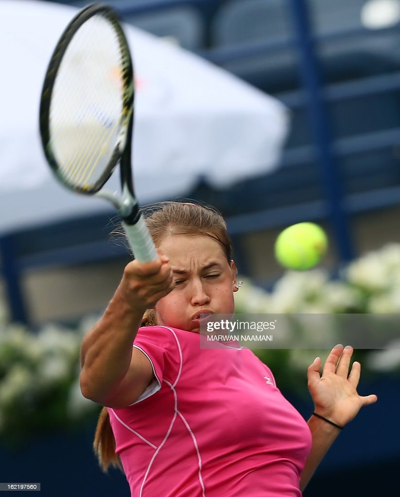 Kazakhstan's Yulia Putintseva returns the ball to Poland's Agnieszka Radwanska during their WTA Dubai Open tennis match in the Gulf emirate on February 20, 2013.