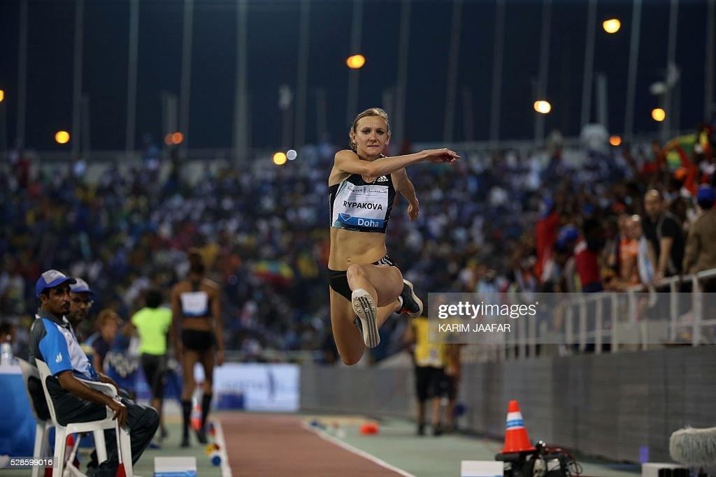 Kazakstan's Olga Rypakova competes in the women's triple jump event at the Diamond League athletics competition at the Suhaim bin Hamad Stadium in Doha on May 6, 2016. / AFP / KARIM