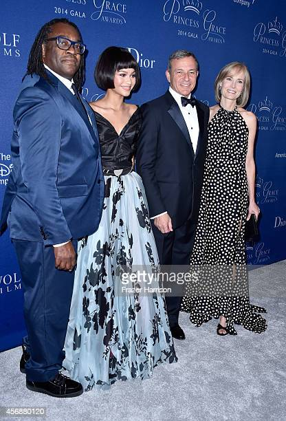 Kazembe Ajamu Coleman actress Zendaya and gala cochairs Bob Iger and Willow Bay attend 2014 Princess Grace Awards Gala at Regent Beverly Wilshire...