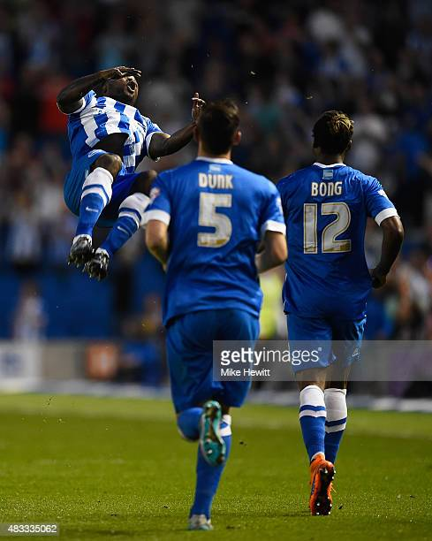 Kazenga LuaLua of Brighton celebrates after scoring the first goal of the season during the Sky Bet Championship match between Brighton Hove Albion...