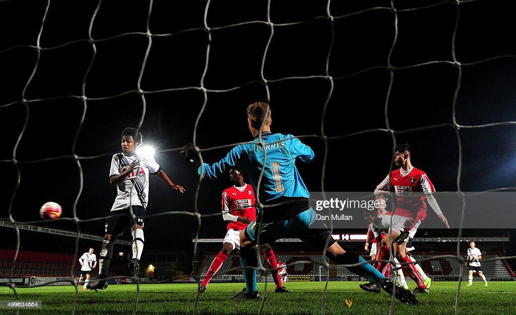 Kaziah Sterling of Tottenham Hotspur scores his side's second goal past Laurence Bilboe of Rotherham United during the FA Youth Cup match between...