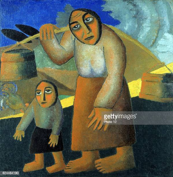 Kazimir Malevich Russian school Peasant Woman with Buckets and Child Woman walking and carrying buckets over her shoulder child walking beside her...