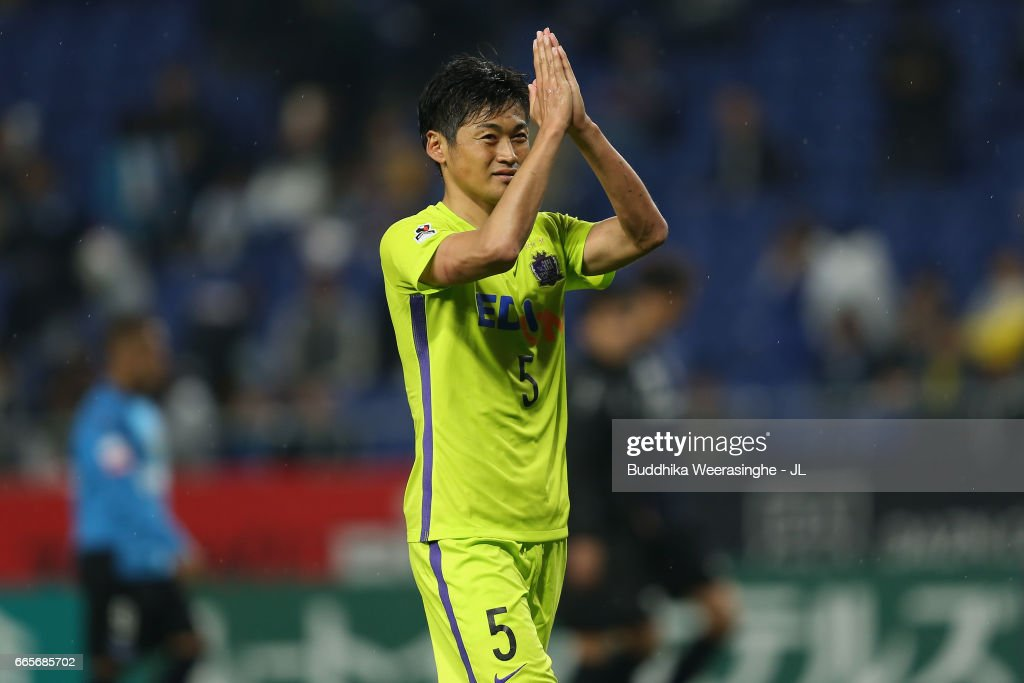 Kazuhiko Chiba of Sanfrecce Hiroshima applauds supporters after his side's 1-0 victory in the J.League J1 match between Gamba Osaka and Sanfrecce Hiroshima at Suita City Football Stadium on April 7, 2017 in Suita, Osaka, Japan.