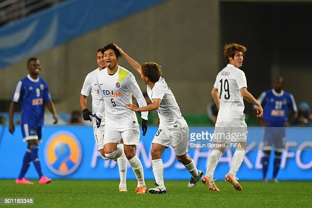 Kazuhiko Chiba of Sanfrecce Hiroshima celebrates after scoring during the the FIFA Club World Cup Quarter Final match between TP Mazembe and...