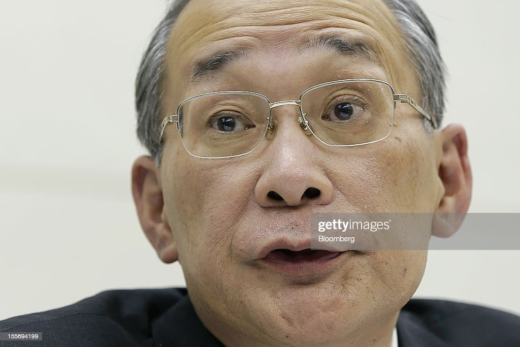 Kazuhiko Shimokobe, chairman of Tokyo Electric Power Co. (Tepco), speaks during a news conference at the company's headquarters in Tokyo, Japan, on Wednesday, Nov. 7, 2012. Tepco may ask the government for more funds to cover decontamination and reactor decommissioning costs from last year's nuclear disaster at its Fukushima Dai-Ichi atomic plant. Photographer: Kiyoshi Ota/Bloomberg via Getty Images