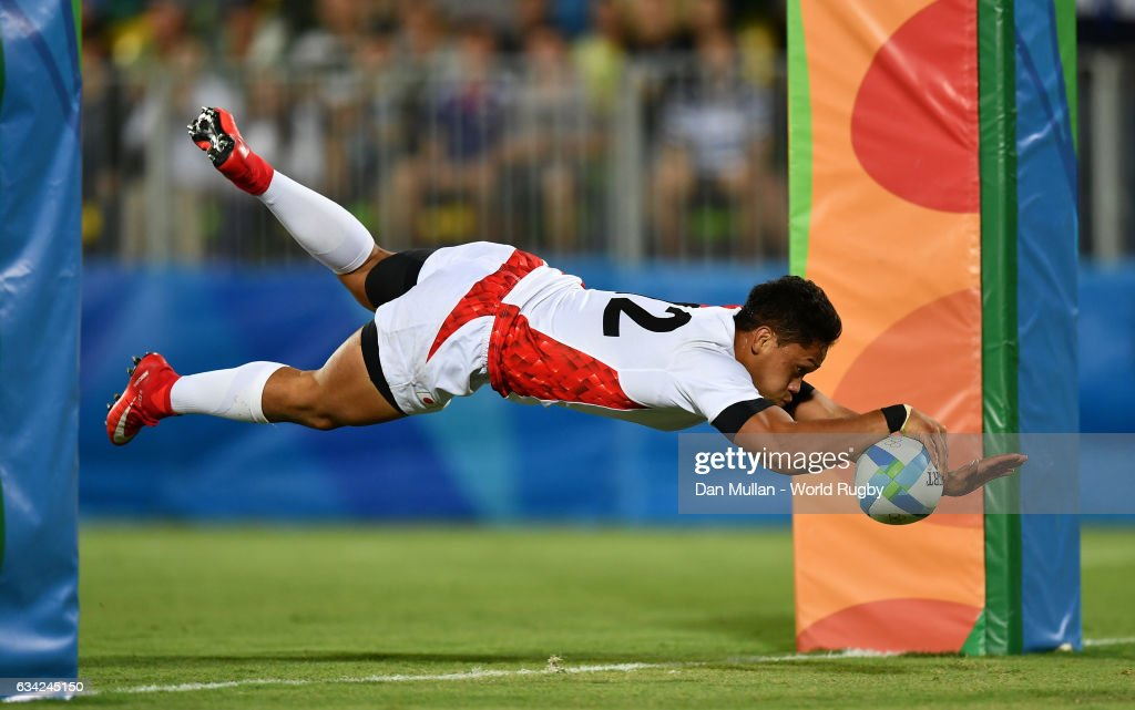 Kazuhiro Goya of Japan dives over for a try during the Men's Rugby Sevens Bronze Medal match between Japan and South Africa on day six of the Rio 2016 Olympic Games at Deodoro Stadium on August 11, 2016 in Rio de Janeiro, Brazil.