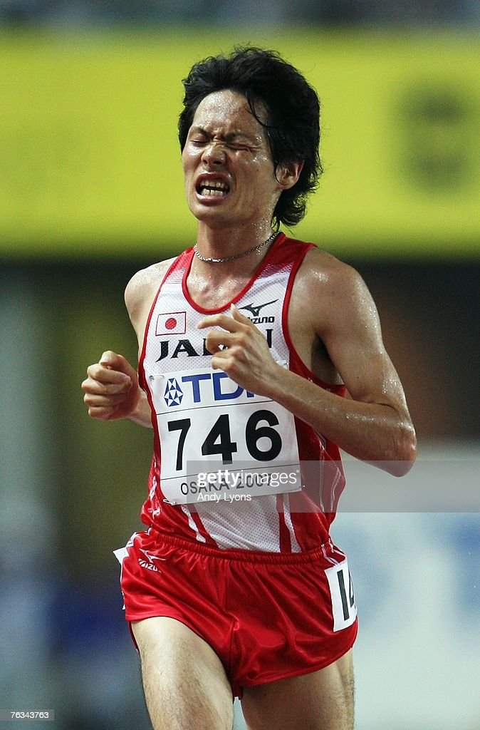 <a gi-track='captionPersonalityLinkClicked' href=/galleries/search?phrase=Kazuhiro+Maeda&family=editorial&specificpeople=4473744 ng-click='$event.stopPropagation()'>Kazuhiro Maeda</a> of Japan competes during the Men's 10,000m Final on day three of the 11th IAAF World Athletics Championships on August 27, 2007 at the Nagai Stadium in Osaka, Japan.