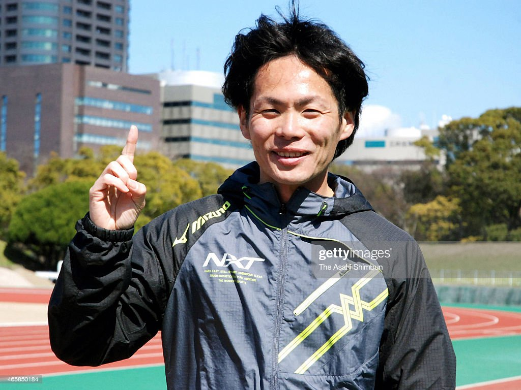 <a gi-track='captionPersonalityLinkClicked' href=/galleries/search?phrase=Kazuhiro+Maeda&family=editorial&specificpeople=4473744 ng-click='$event.stopPropagation()'>Kazuhiro Maeda</a> poses for photographs after the JAAF announced the marathon members for the IAAF World Championships on march 11, 2015 in Fukuoka, Japan.