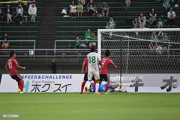 Kazuhiro Sato of Zweigen Kanazawa scores the opener during the JLeague second division match between Zweigen Kanazawa and FC Gifu at Ishikawa...
