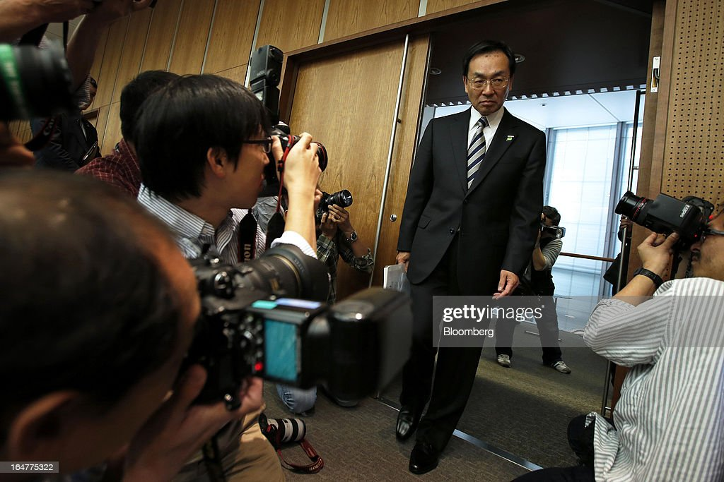 Kazuhiro Tsuga, president of Panasonic Corp., arrives for a news conference in Tokyo, Japan, on Thursday, March 28, 2013. Panasonic, Japan's second-biggest television maker, will sell part of its logistics unit and consider other asset sales as it targets operating profit of 350 billion yen ($3.7 billion) by the 2015 financial year. Photographer: Kiyoshi Ota/Bloomberg via Getty Images