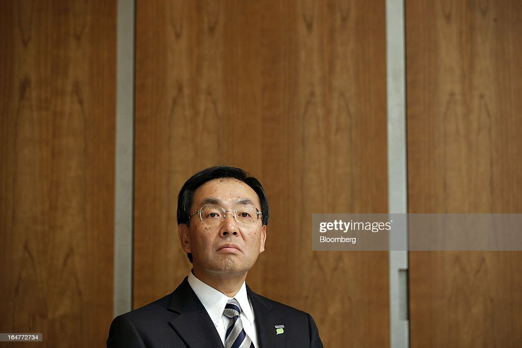 Kazuhiro Tsuga, president of Panasonic Corp., attends a news conference in Tokyo, Japan, on Thursday, March 28, 2013. Panasonic, Japan's second-biggest television maker, will sell part of its logistics unit and consider other asset sales as it targets operating profit of 350 billion yen ($3.7 billion) by the 2015 financial year. Photographer: Kiyoshi Ota/Bloomberg via Getty Images
