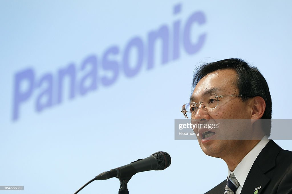 Kazuhiro Tsuga, president of Panasonic Corp., speaks during a news conference in Tokyo, Japan, on Thursday, March 28, 2013. Panasonic, Japan's second-biggest television maker, will sell part of its logistics unit and consider other asset sales as it targets operating profit of 350 billion yen ($3.7 billion) by the 2015 financial year. Photographer: Kiyoshi Ota/Bloomberg via Getty Images