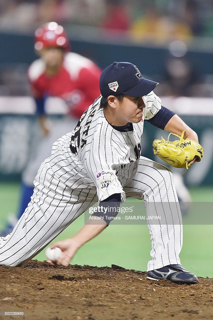 <a gi-track='captionPersonalityLinkClicked' href=/galleries/search?phrase=Kazuhisa+Makita&family=editorial&specificpeople=10508674 ng-click='$event.stopPropagation()'>Kazuhisa Makita</a> #35 of Japan in action during the send-off friendly match for WBSC Premier 12 between Japan and Puerto Rico at the Fukuoka Dome on November 6, 2015 in Fukuoka, Japan.
