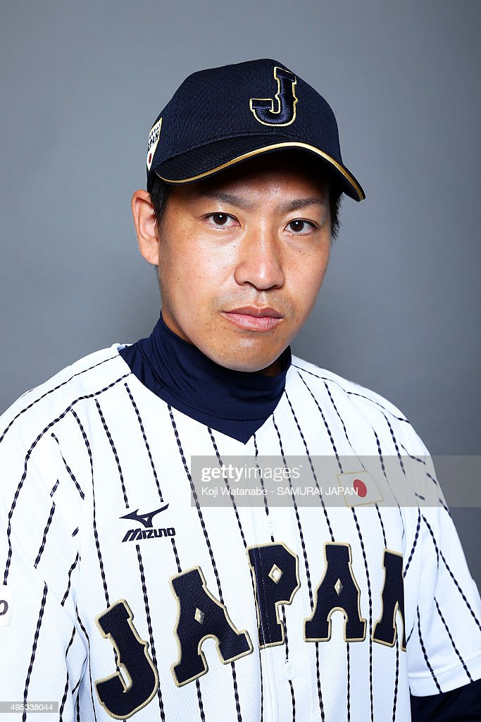 <a gi-track='captionPersonalityLinkClicked' href=/galleries/search?phrase=Kazuhisa+Makita&family=editorial&specificpeople=10508674 ng-click='$event.stopPropagation()'>Kazuhisa Makita</a> #35 of Japan poses for a portrait prior to the WBSC Premier 12 on November 2, 2015 in Fukuoka, Japan.