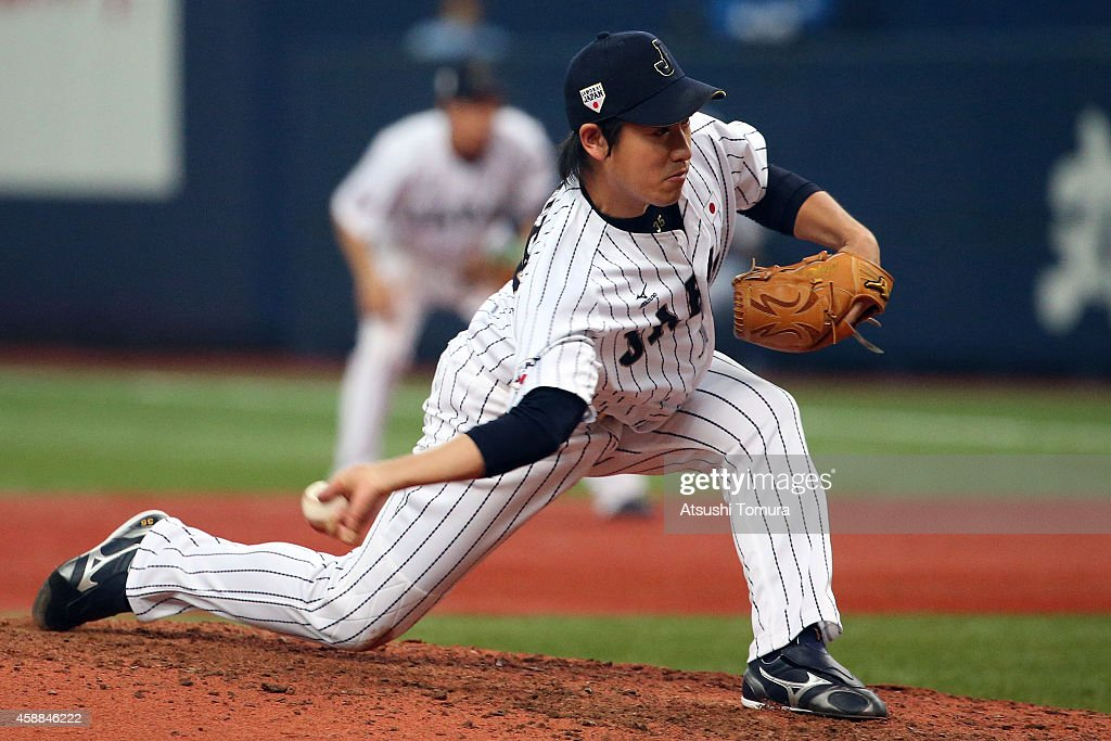 <a gi-track='captionPersonalityLinkClicked' href=/galleries/search?phrase=Kazuhisa+Makita&family=editorial&specificpeople=10508674 ng-click='$event.stopPropagation()'>Kazuhisa Makita</a> #35 of Samurai Japan pitches against MLB All Stars in the seventh inning during the Game one of Samurai Japan and MLB All Stars at Kyocera Dome Osaka on November 12, 2014 in Osaka, Japan.